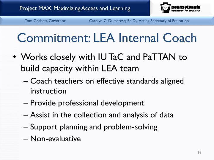 Commitment: LEA Internal Coach
