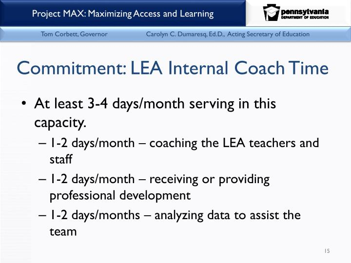 Commitment: LEA Internal Coach Time