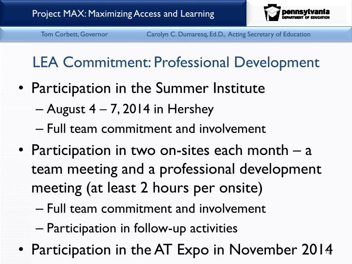 LEA Commitment: Professional Development