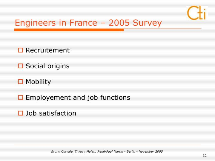 Engineers in France – 2005 Survey