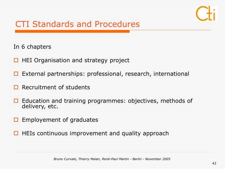 CTI Standards and Procedures