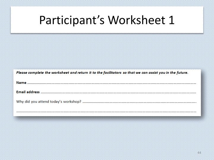 Participant's Worksheet 1