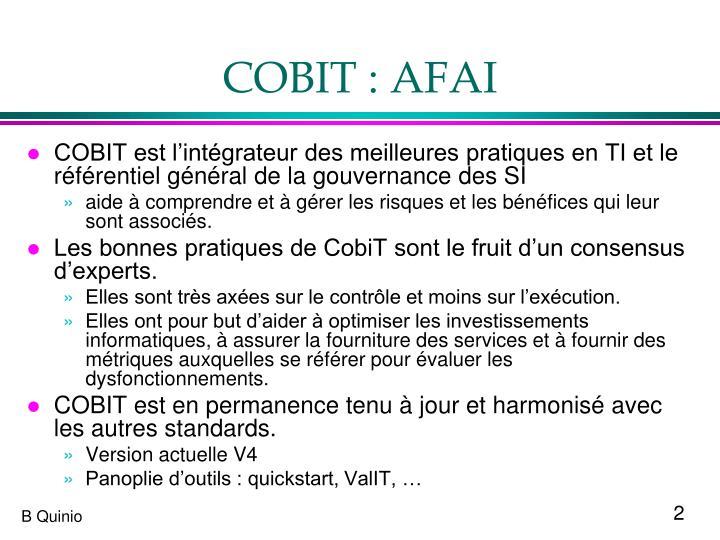 COBIT : AFAI