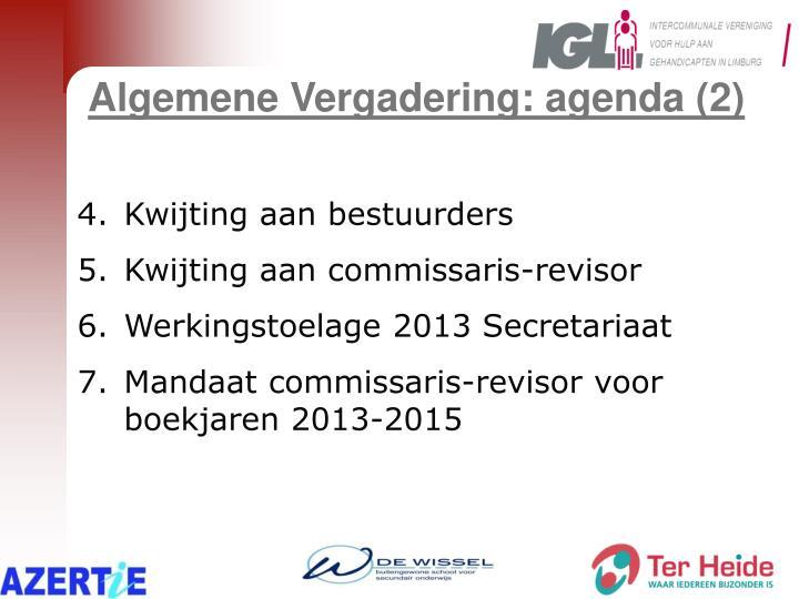 Algemene Vergadering: agenda (2)