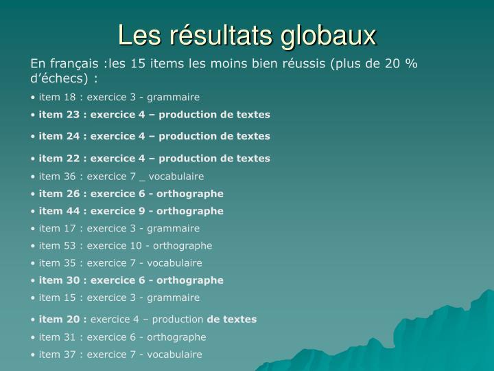 Les résultats globaux