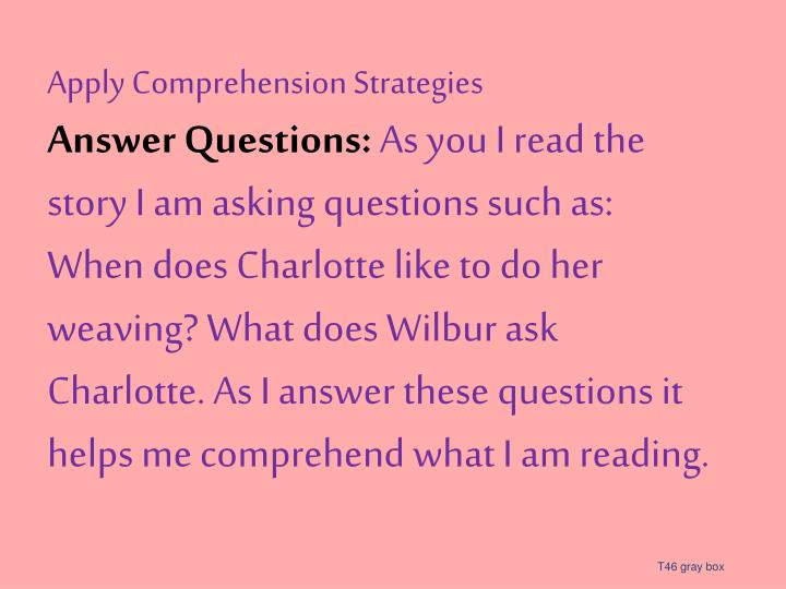 Apply Comprehension Strategies