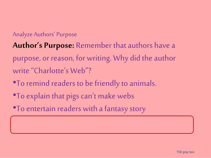 Analyze Authors' Purpose