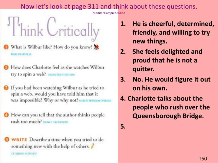 Now let's look at page 311 and think about these questions.