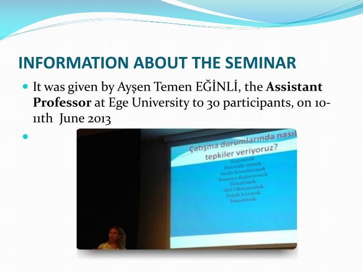 Information about the seminar