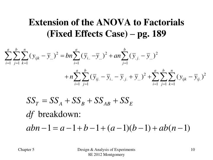 Extension of the ANOVA to Factorials (Fixed Effects Case) – pg.