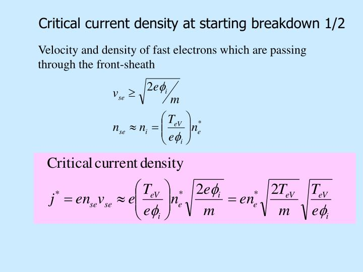 Critical current density at starting breakdown 1/2