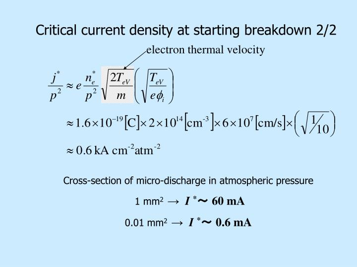 Critical current density at starting breakdown 2/2