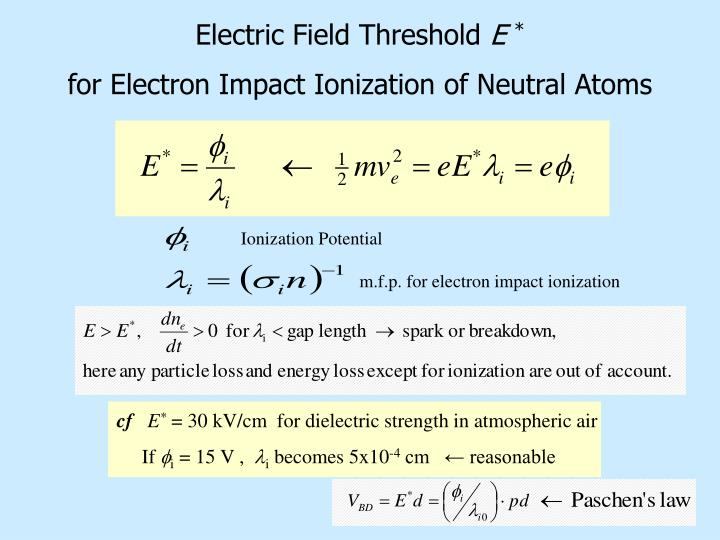 Electric field threshold e for electron impact ionization of neutral atoms