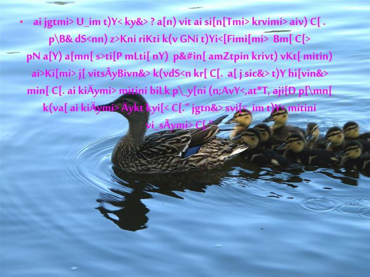 ai jgtmi> U_im t)Y< ky&> ? a[n) vit ai si[n[Tmi> krvimi> aiv) C[ .