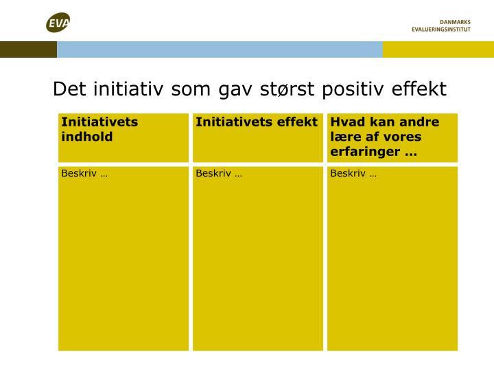 Det initiativ som gav størst positiv effekt