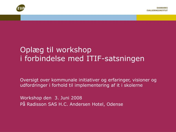 Oplæg til workshop