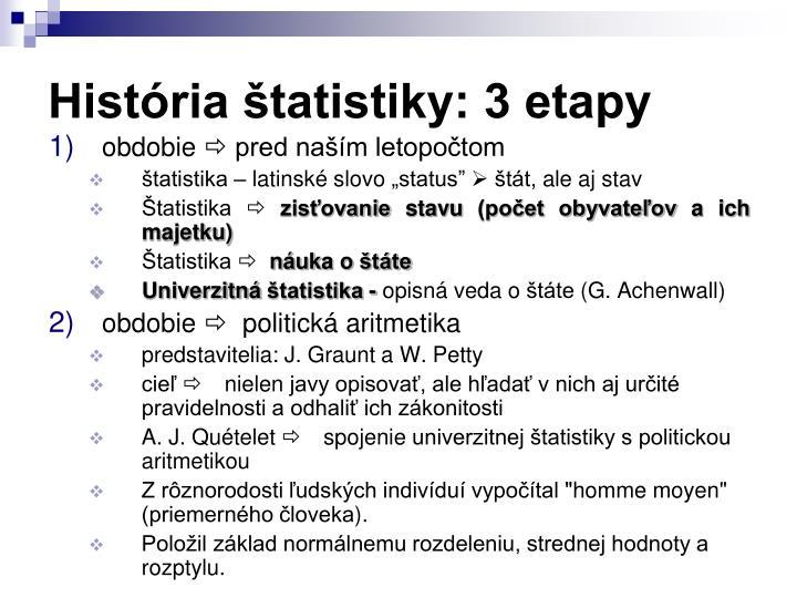 História štatistiky: 3 etapy