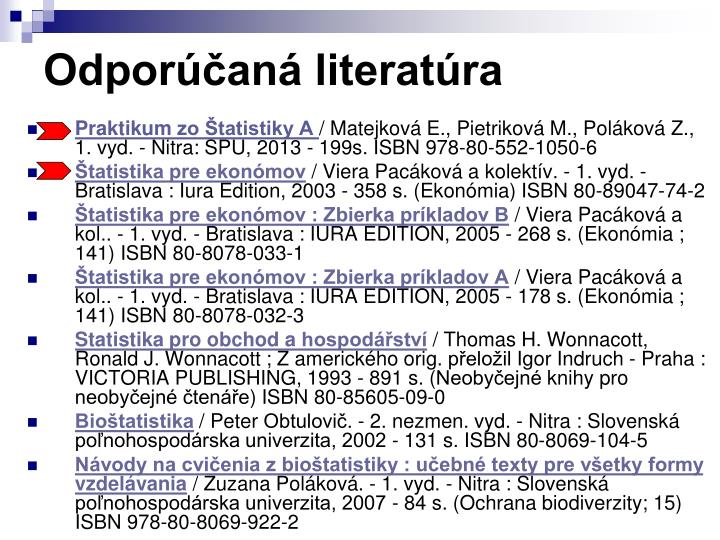Odporúčaná literatúra