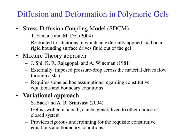 Diffusion and Deformation in Polymeric Gels