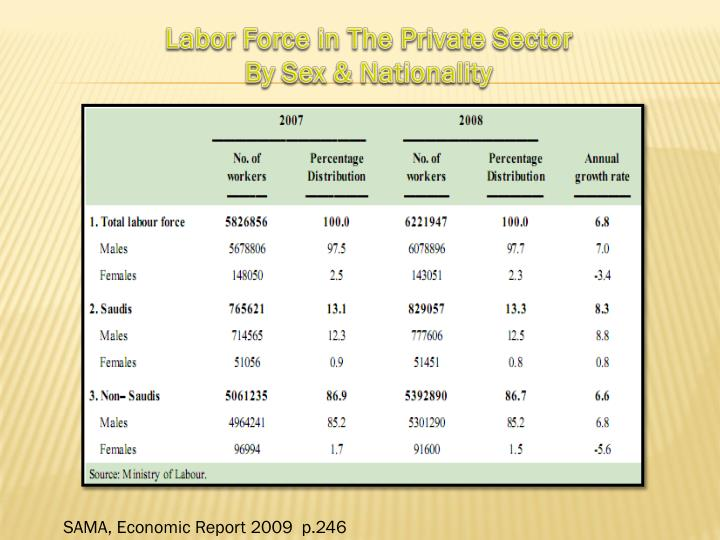 Labor Force in The Private Sector