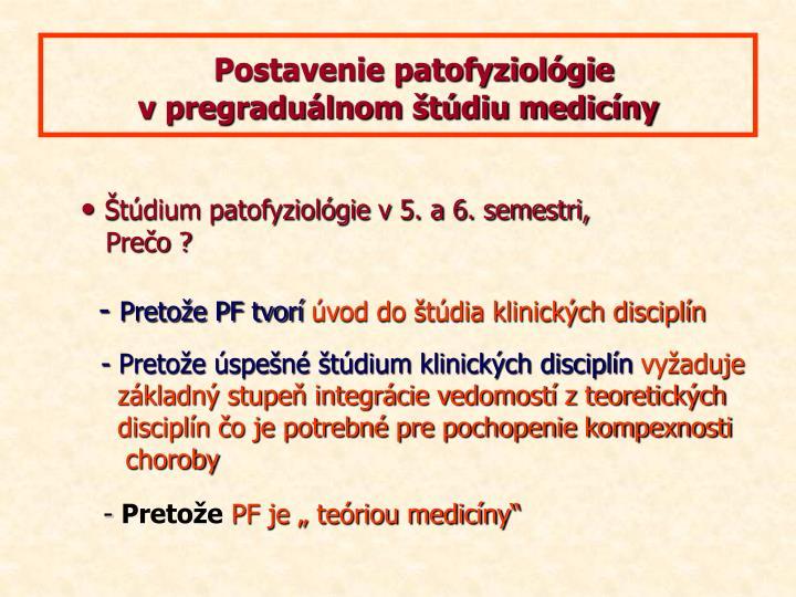 Postavenie patofyziológie