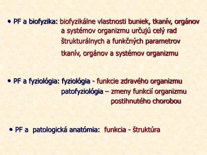 PF a biofyzika: