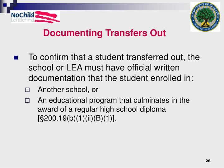 Documenting Transfers Out