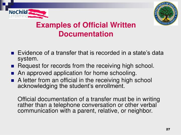 Examples of Official Written Documentation