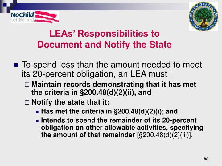 LEAs' Responsibilities to