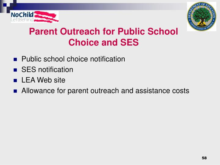 Parent Outreach for Public School Choice and SES