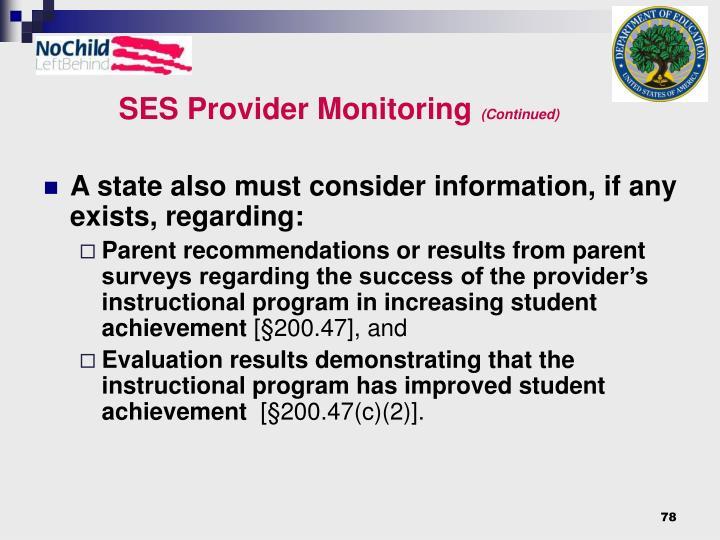 SES Provider Monitoring
