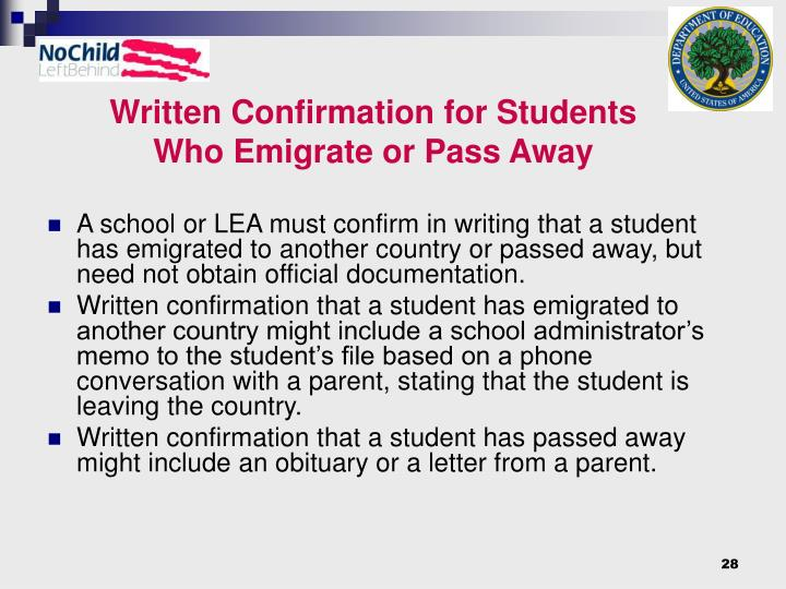 Written Confirmation for Students