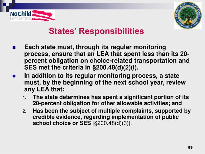 States' Responsibilities