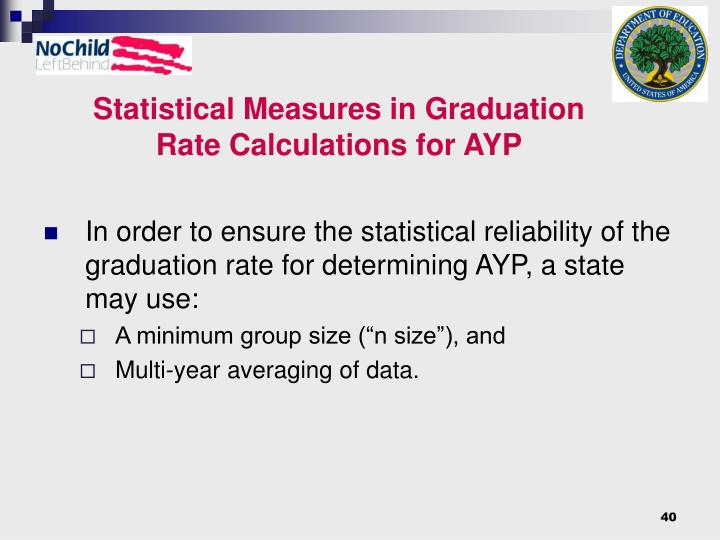 Statistical Measures in Graduation Rate Calculations for AYP