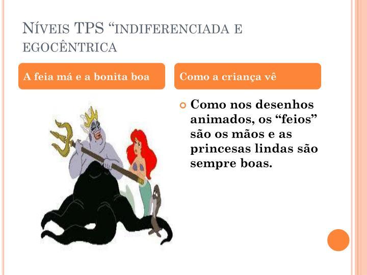 """Níveis TPS """"indiferenciada e egocêntrica"""