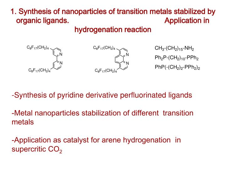1. Synthesis of nanoparticles of transition metals stabilized by organic ligands.                                              Application in hydrogenation reaction