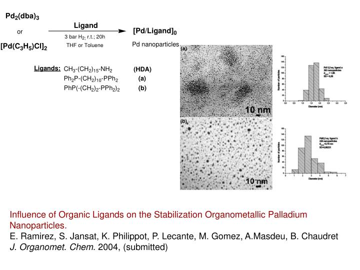 Influence of Organic Ligands on the Stabilization Organometallic Palladium Nanoparticles