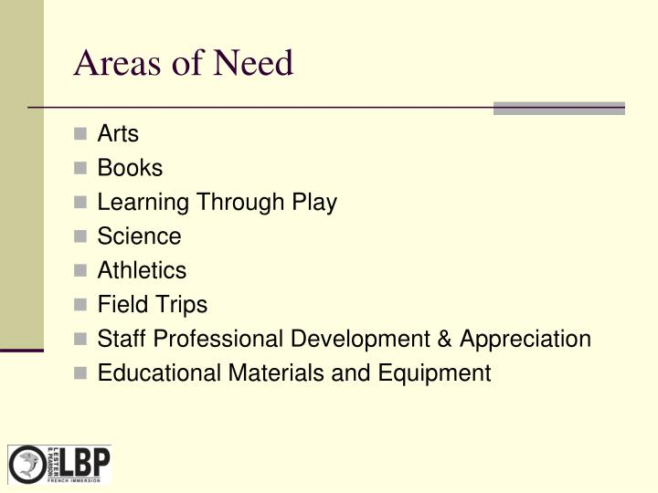 Areas of Need