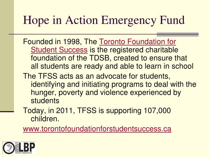 Hope in Action Emergency Fund