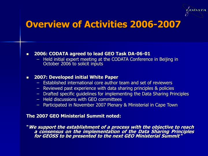Overview of Activities 2006-2007