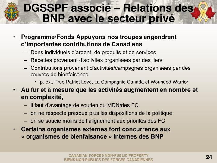 DGSSPF associé – Relations des BNP avec le secteur privé