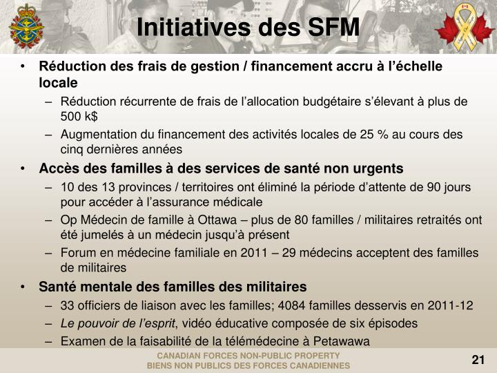 Initiatives des SFM