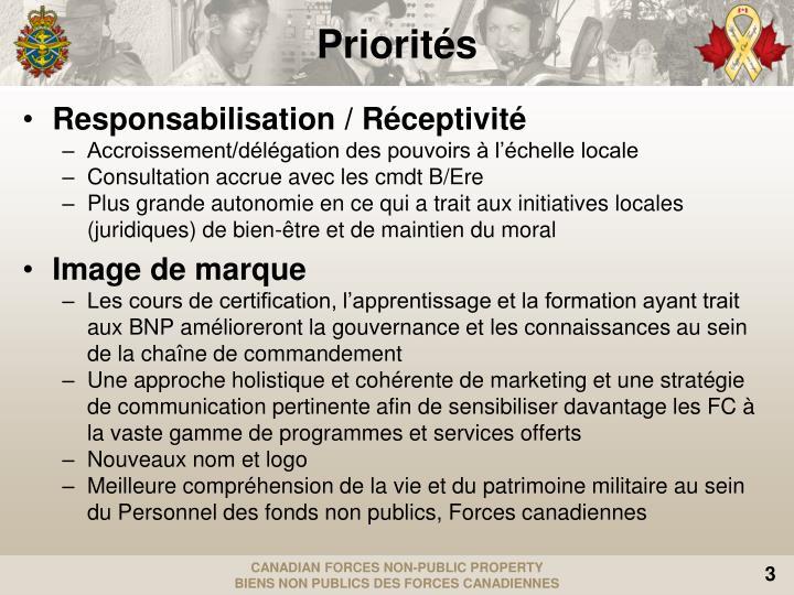 Responsabilisation / Réceptivité
