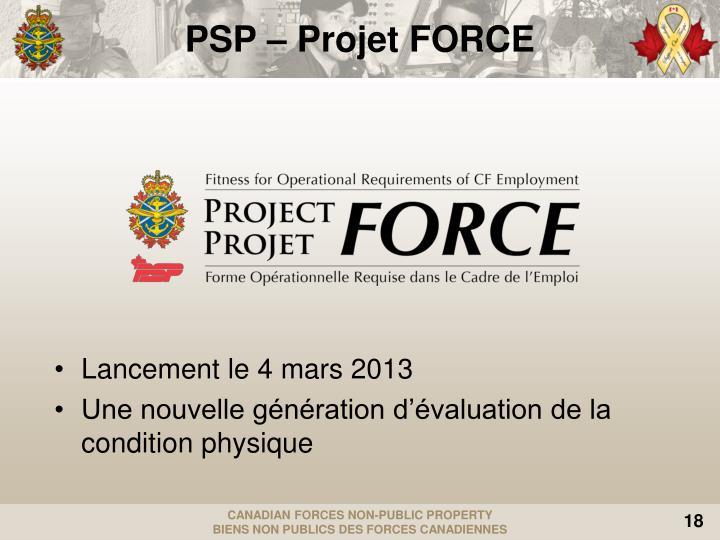 PSP – Projet FORCE