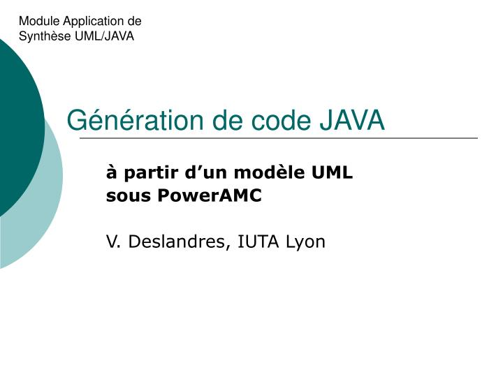 g n ration de code java