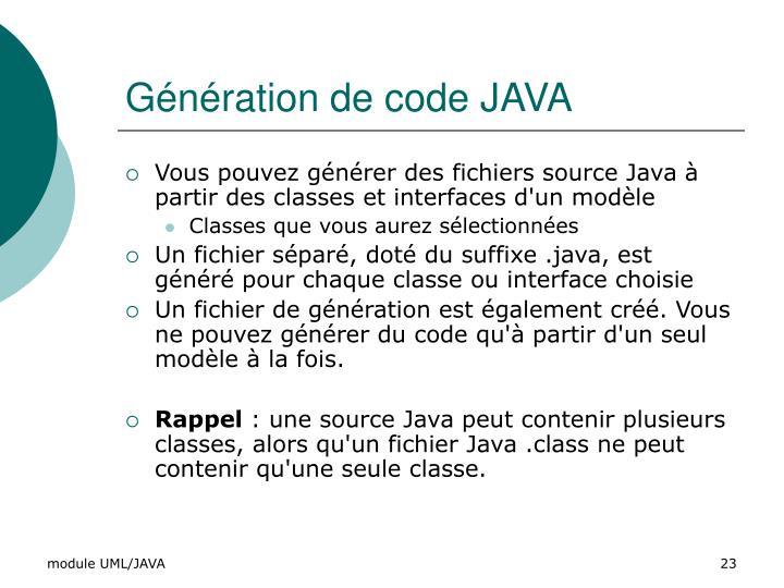 Génération de code JAVA