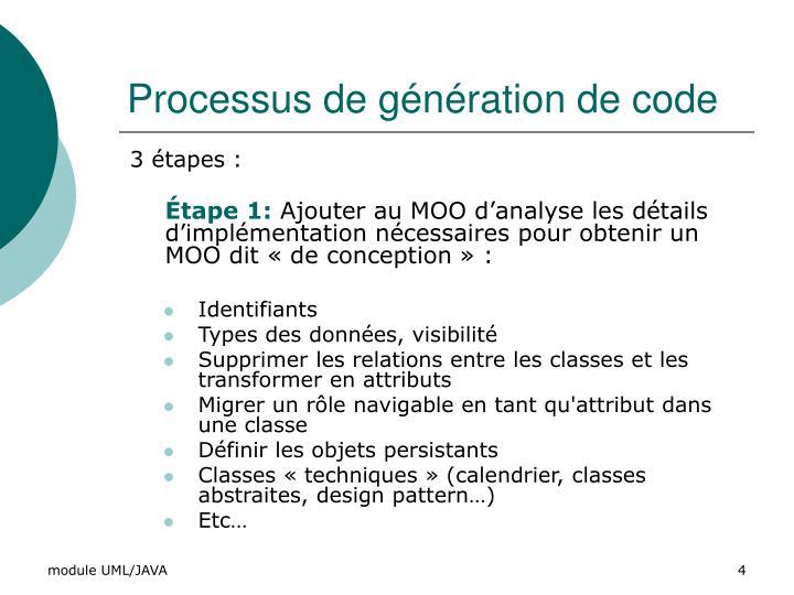 Processus de génération de code