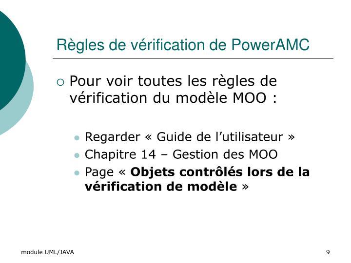Règles de vérification de PowerAMC