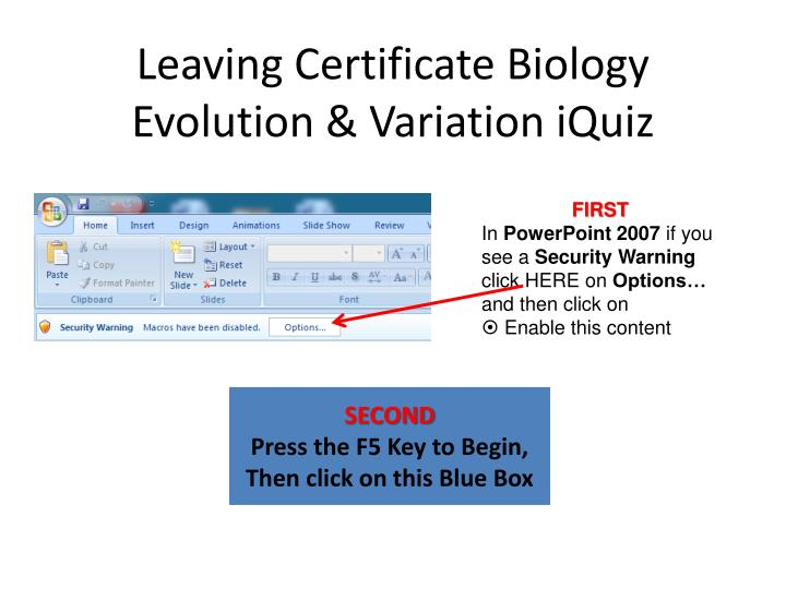 Leaving certificate biology evolution variation iquiz