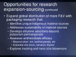 opportunities for research expansion sourcing continued